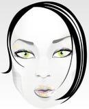 Beautiful face. Beautiful girl, black hair, urban style, blue sky Stock Images