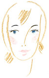 Beautiful face. Sketch of a female head Royalty Free Stock Photo