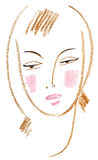 Beautiful face. Sketch of a female head Stock Images