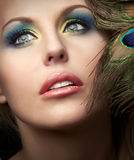 Beautiful Face. Close up photo of beautiful woman's face with fashion makeup Stock Photo