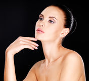 Beautiful   face of the adult woman with fresh skin Royalty Free Stock Image
