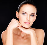 Beautiful   face of the adult woman with fresh skin Royalty Free Stock Photography