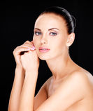 Beautiful   face of the adult woman with fresh skin Stock Photos