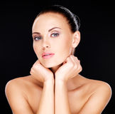Beautiful   face of the adult woman with fresh skin Stock Image
