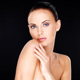 Beautiful   face of the adult woman with fresh skin Stock Photography