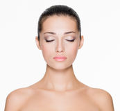 Beautiful face with beautiful closed eyes Royalty Free Stock Photos