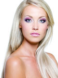 Beautiful face of blond woman royalty free stock photo