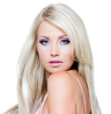 Beautiful face of blond woman Stock Image