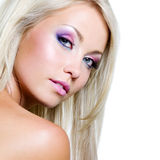 Beautiful face of blond woman royalty free stock photography