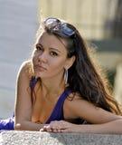 Beautiful face of caucasian city woman stock photos