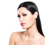 Beautiful face of caucasian woman  with pink lips Royalty Free Stock Image
