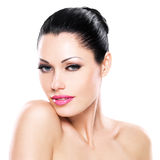 Beautiful face of caucasian woman  with pink lips Stock Images
