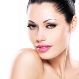 Beautiful face of caucasian woman  with pink lips Stock Photo
