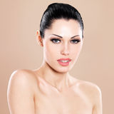 Beautiful face of caucasian woman  with pink lips Royalty Free Stock Photo