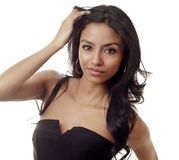 Beautiful face of exotic woman stock photo