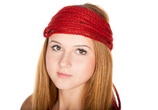 Beautiful face with freckles and red rope Royalty Free Stock Photos