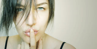 Beautiful face of a girl while kissing royalty free stock photo