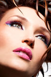 Beautiful face of a glamour woman. With fashion bright makeup stock photos