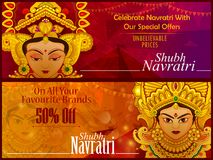 Beautiful face of Goddess Durga for Happy Dussehra or Shubh Navratri festival sale and promotion advertisement. Background in vector Royalty Free Stock Image