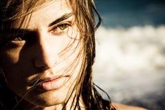 beautiful face hair her over woman young στοκ φωτογραφία με δικαίωμα ελεύθερης χρήσης