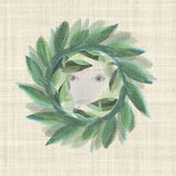 Beautiful face hiding in a  Laurel Wreath i. Textured  laurel wreath classic on a linen ground Royalty Free Stock Photography