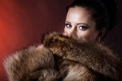 Portrait of beauty woman in luxury winter fur coat Royalty Free Stock Photos
