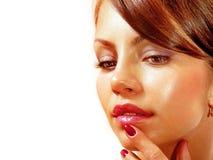 Beautiful face isolated on white bg royalty free stock photography