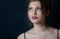 Beautiful face of a lady with big red lips Royalty Free Stock Images