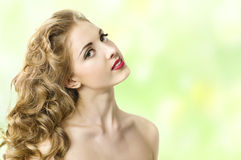 Beautiful face with long hair Royalty Free Stock Images