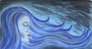 Beautiful face mermaid long hair on underwater background acrylic painting. Beautiful face of mermaid with long hair on abstract underwater background - acrylic Royalty Free Stock Image