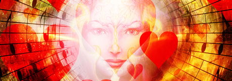 Beautiful face of mystical being with music notes, hearts and birds on woman face, symbol of the muse of music, in space Royalty Free Stock Image