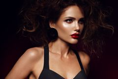 Beautiful Face Of A Fashion Model With Red Lips. Studio Portrait. Stock Photos