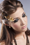 Beautiful Face.Perfect Makeup. Beautiful brunette in the studio. Unusual make-up Stock Images