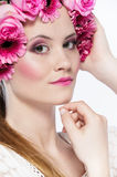 Beautiful face with pink flowers Royalty Free Stock Image