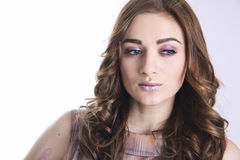 Beautiful face with pink makeup Royalty Free Stock Image
