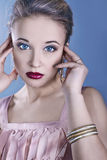 Beautiful face with saturated colors of make-up Stock Photo