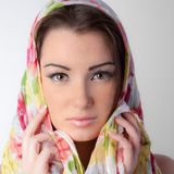 Beautiful Face With Scarf Stock Photos