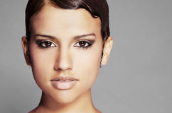 Beautiful face and short hair Stock Photography