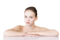 Beautiful face of spa woman with healthy clean skin. Royalty Free Stock Photography