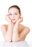 Beautiful face of spa woman with healthy clean skin. Stock Image