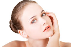 Beautiful face of spa woman with healthy clean skin. Stock Photos