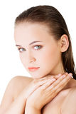 Beautiful face of spa woman with healthy clean skin. Royalty Free Stock Images