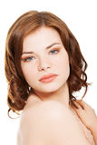 Beautiful face of spa woman with healthy clean skin. Royalty Free Stock Image