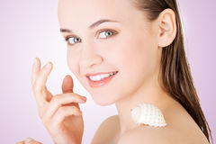 Beautiful face of spa woman with healthy clean skin Stock Images