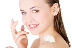 Beautiful face of spa woman with healthy clean skin Royalty Free Stock Image