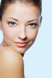 Beautiful face of wellness woman Royalty Free Stock Image