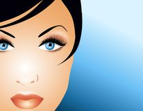 Beautiful Face of Woman. An illustration featuring the beautiful face of a woman with blue eyes on blue gradient background and wisp of back hair Stock Photography