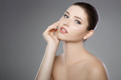 Beautiful face of woman with blue eyes and clean fresh skin. Spa portrait. Beautiful woman`s face with blue eyes and clean fresh skin. Spa portrait Stock Images