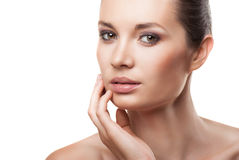 Beautiful face of woman with clean skin isolated Stock Photo