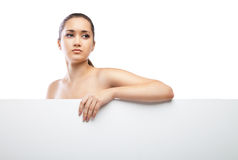Beautiful face of woman with clean skin isolated Royalty Free Stock Image